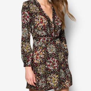 Topshop Ditsy Floral Print Long Sleeve Mini Dress